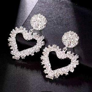 Silver Tone Heart Drop Earrings